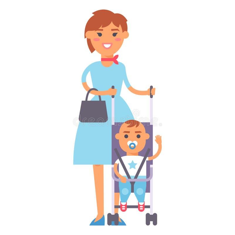 Mère de sourire de bonheur adulte de personnes de famille avec le concept de parenting d'unité de fils et parent occasionnel, gai illustration libre de droits