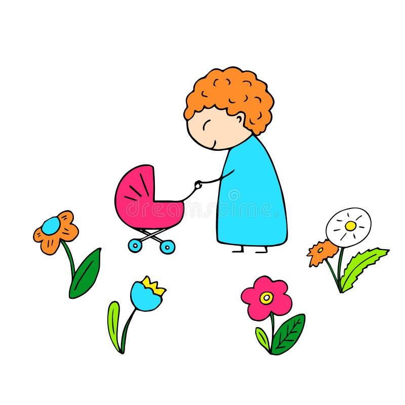 Mère de sourire heureuse tirée par la main sur le fond blanc Caractère tiré par la main mignon Maman et voiture d'enfant illustration de vecteur
