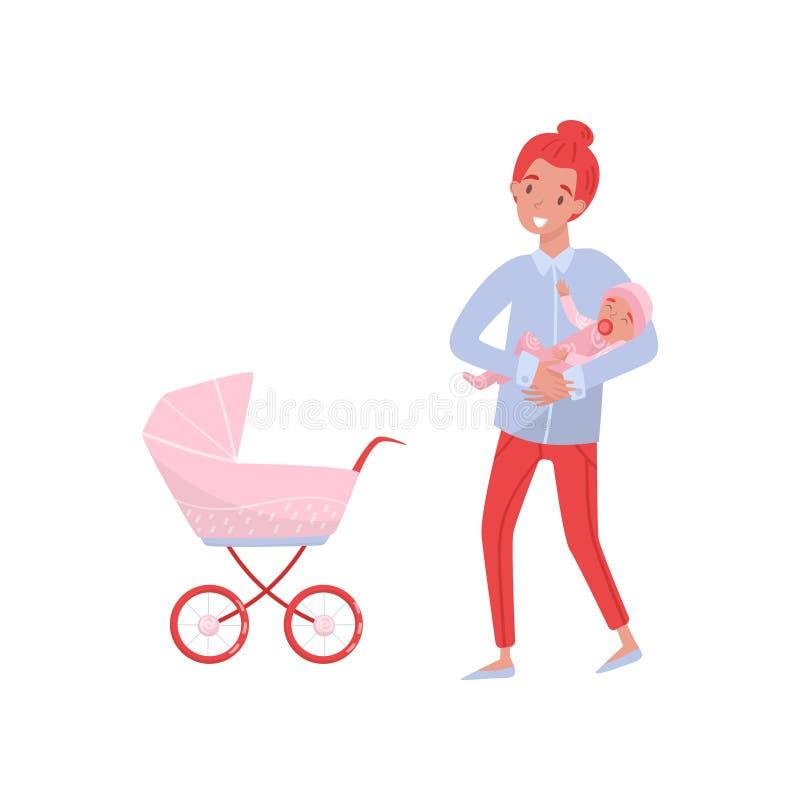 Mère de sourire tenant le nourrisson fille dans des mains Jeune maman, enfant nouveau-né et voiture d'enfant rose Thème de matern illustration de vecteur