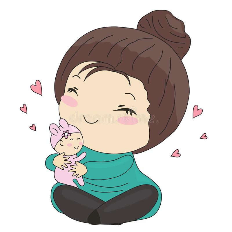 Mère douce et son bébé illustration de vecteur