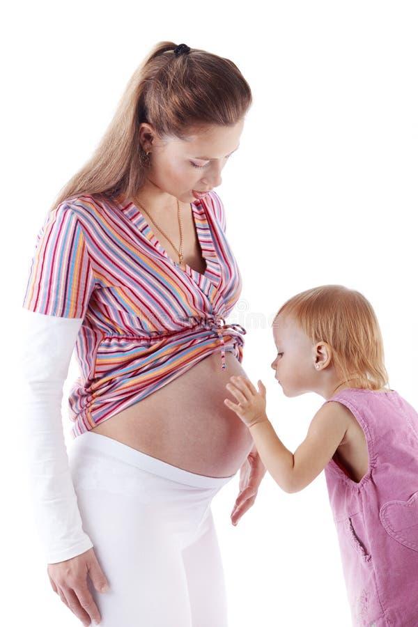 Mère enceinte avec son descendant photos stock