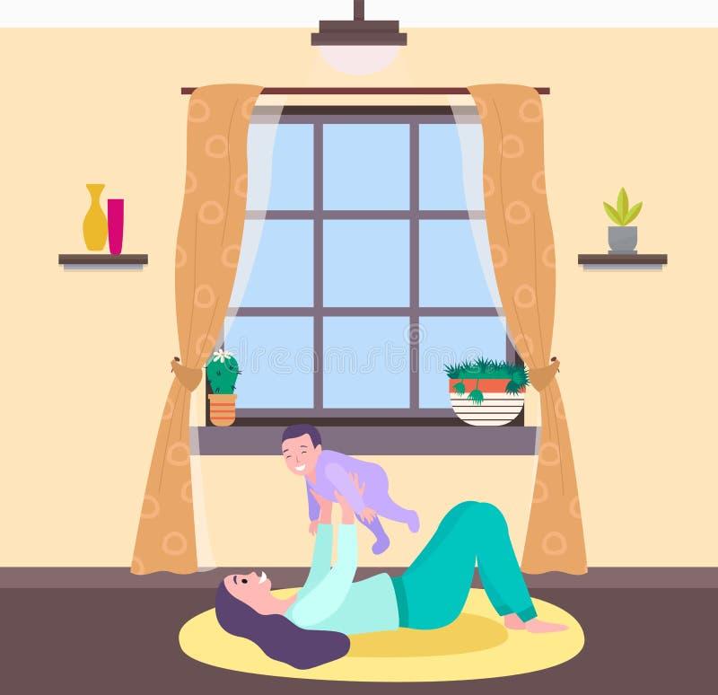 Mère et bébé à la maison, femme jouant avec l'enfant illustration stock
