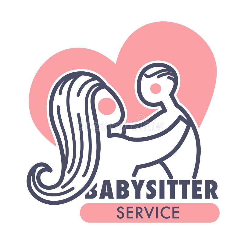 Mère et bébé d'icône d'isolement par service de babysitter illustration de vecteur