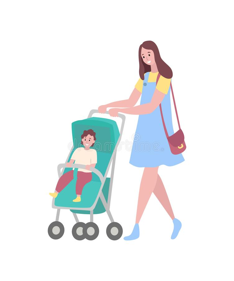 Mère et bébé, femme avec la marche de voiture landau illustration de vecteur