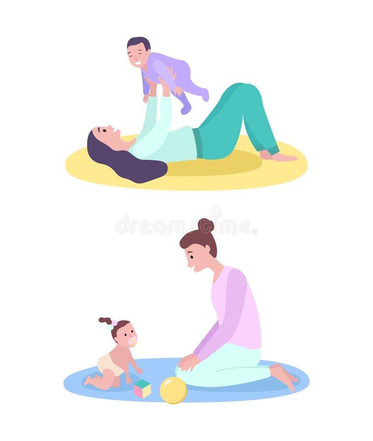 Mère et bébé, mère heureuse jouant avec l'enfant illustration de vecteur
