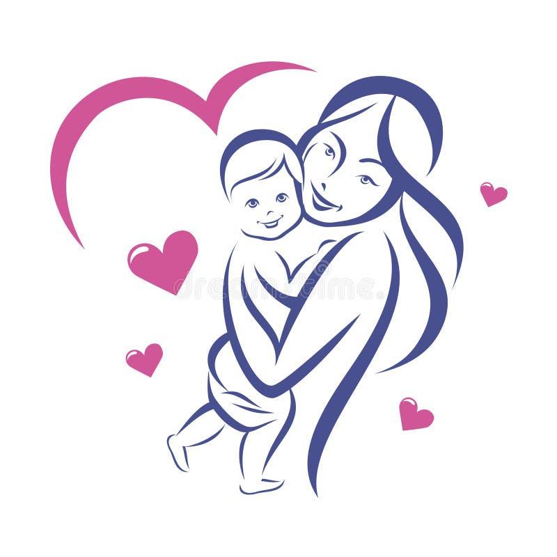 Mère et bébé heureux illustration libre de droits