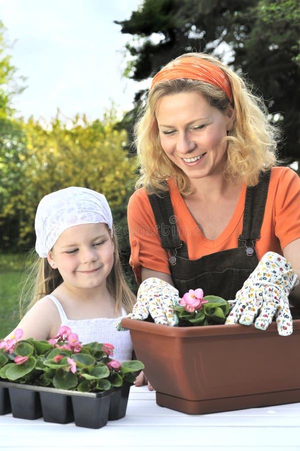 Mère et descendant ayant le temps de jardinage photos stock