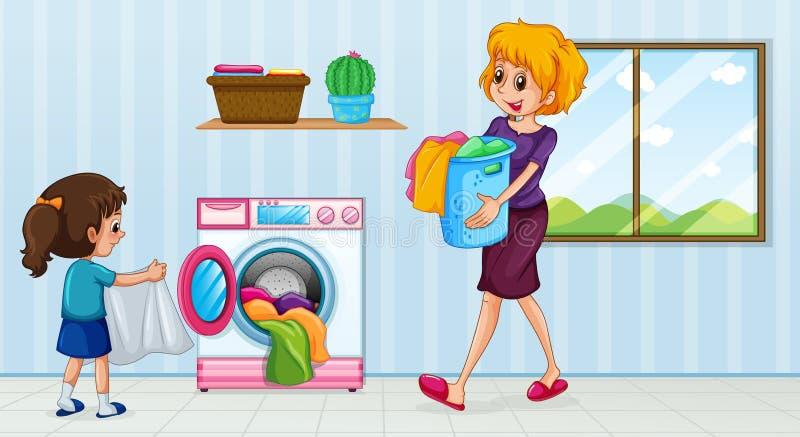 Mère et descendant faisant la blanchisserie illustration libre de droits