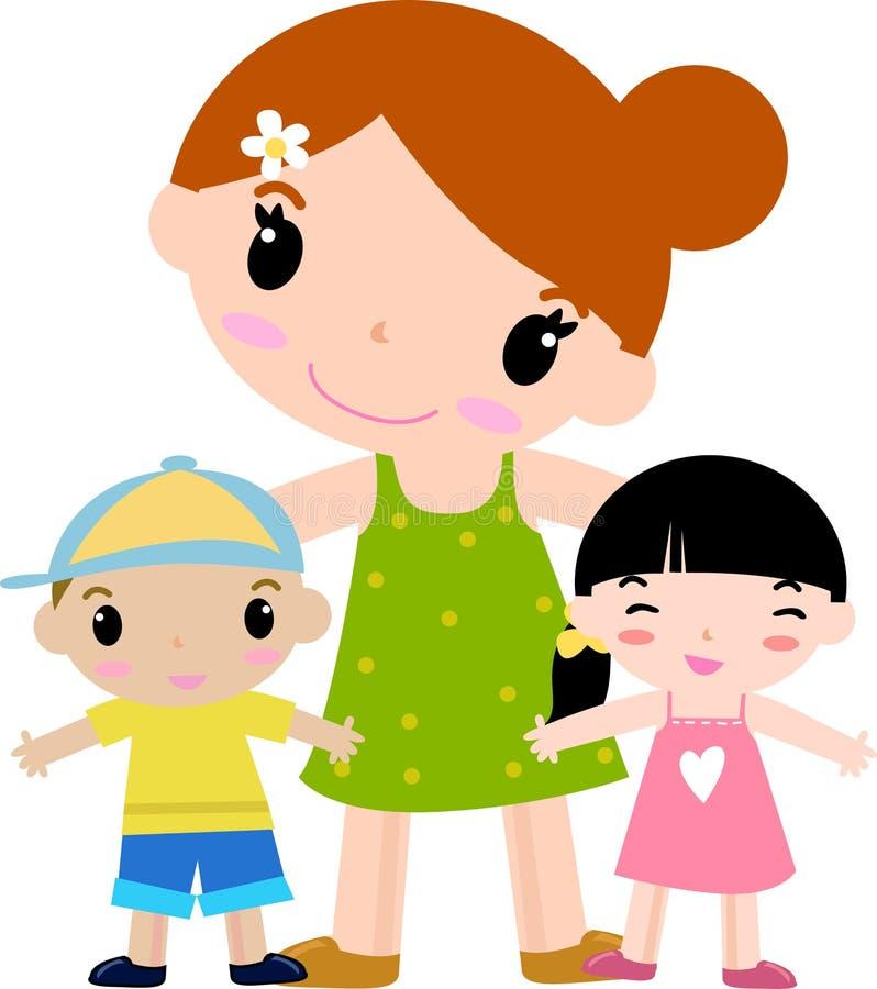 Mère et deux enfants illustration de vecteur