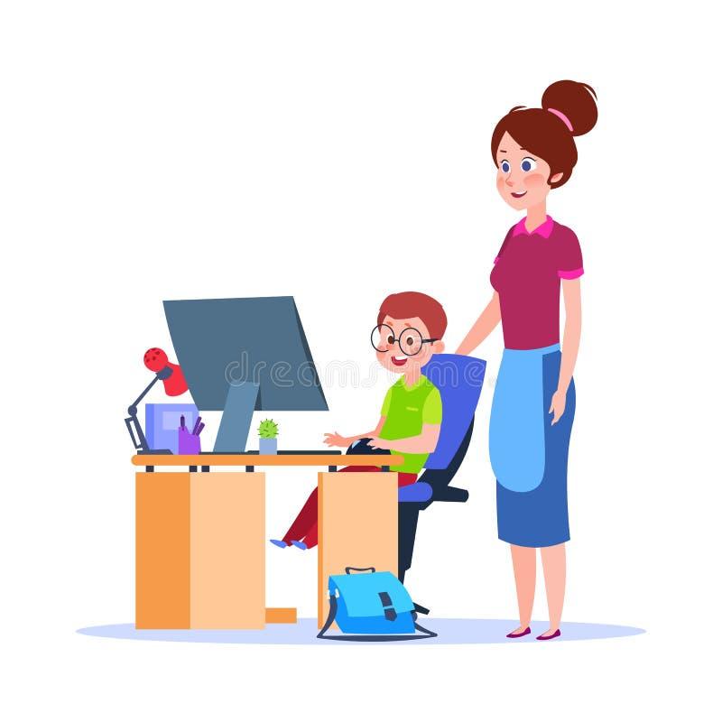 Mère et enfant à l'ordinateur Garçon de aide de maman avec le travail Concept de vecteur d'éducation d'école de bande dessinée illustration de vecteur