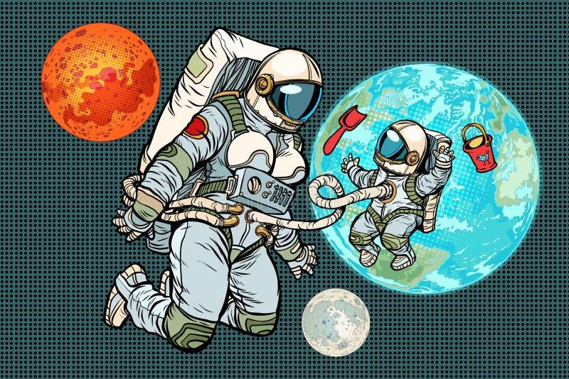 Mère et enfant d'astronaute sur terre de planète Humanité et uni illustration de vecteur