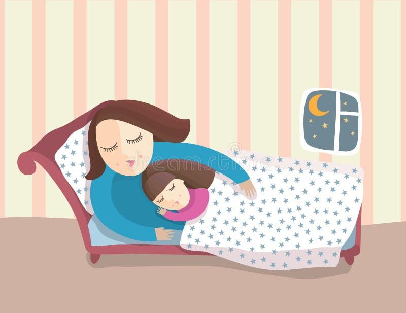 Mère et enfant de sommeil illustration stock