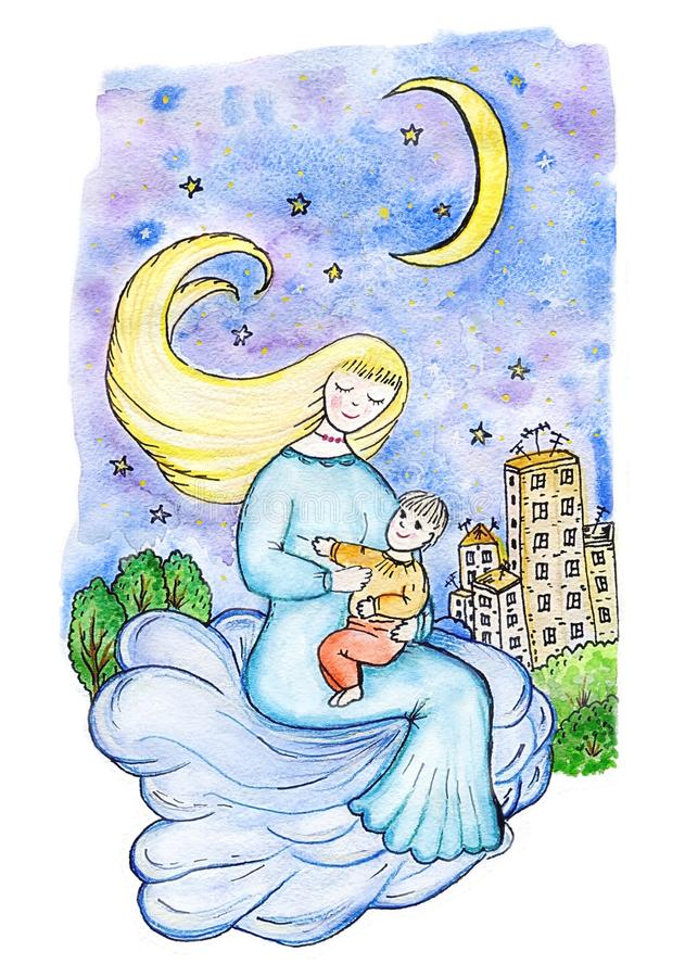 Mère et enfant sur un nuage dans le ciel au-dessus de la ville la nuit illustration de vecteur