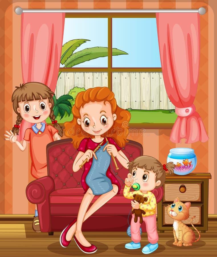 Mère et enfants dans le salon illustration de vecteur