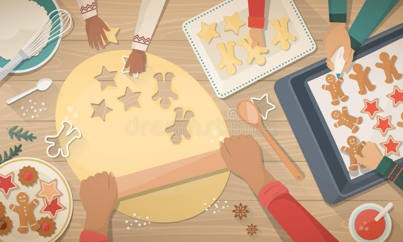Mère et enfants préparant des bonbons pour Noël illustration de vecteur