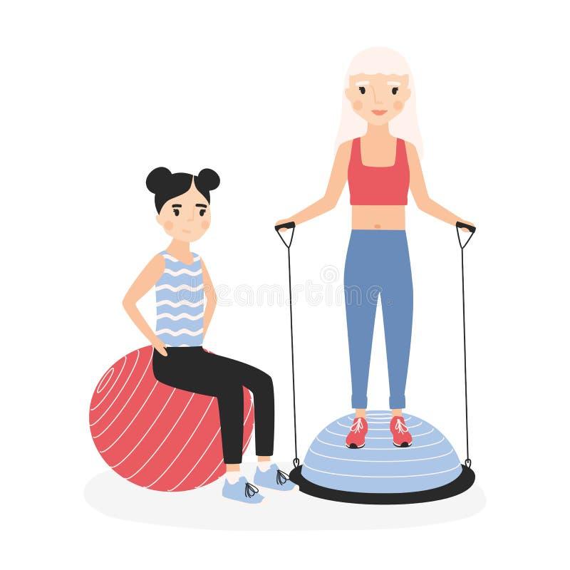 Mère et fille de sourire exécutant des exercices d'aérobic avec des boules de gymnase Maman et enfant heureux pendant la formatio illustration de vecteur