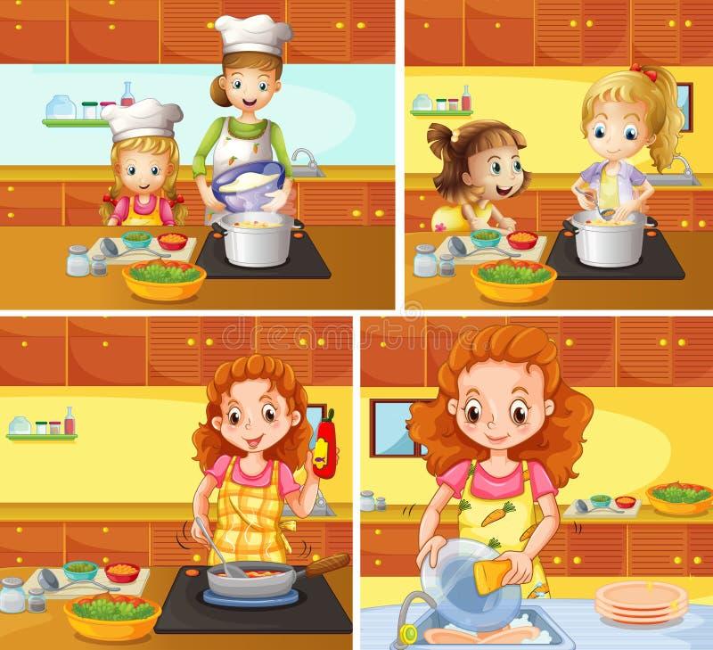 Mère et fille faisant cuire et nettoyant illustration libre de droits