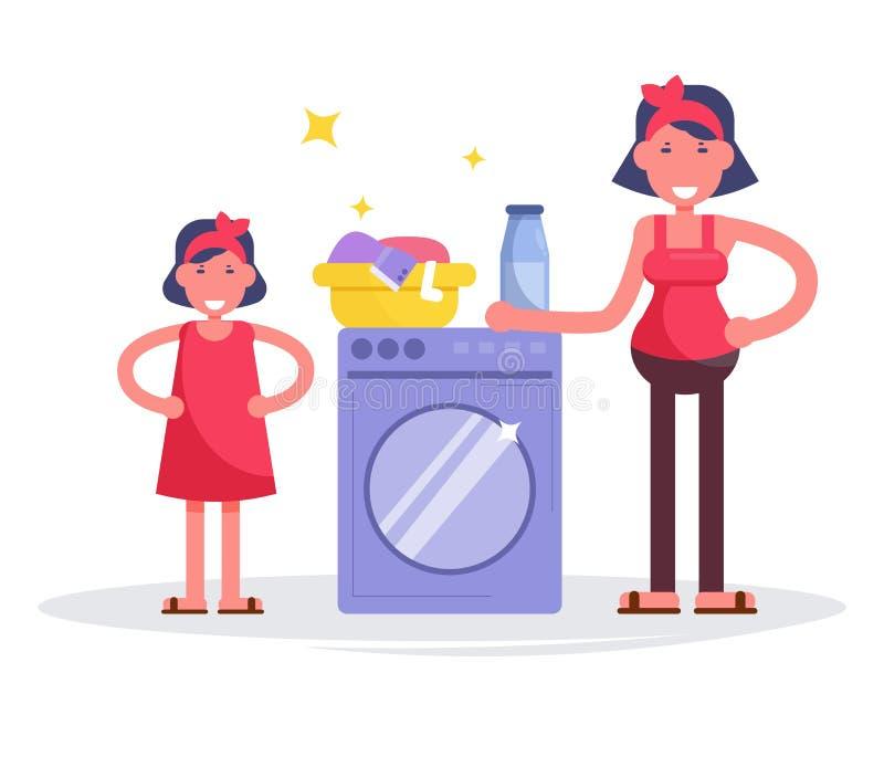 Mère et fille près de machine à laver Blanchisserie, vêtements illustration de vecteur