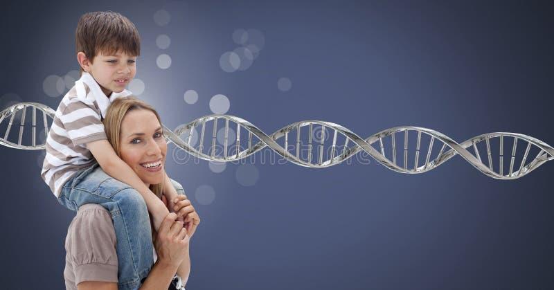 Mère et fils avec les étincelles et l'ADN génétique photographie stock libre de droits
