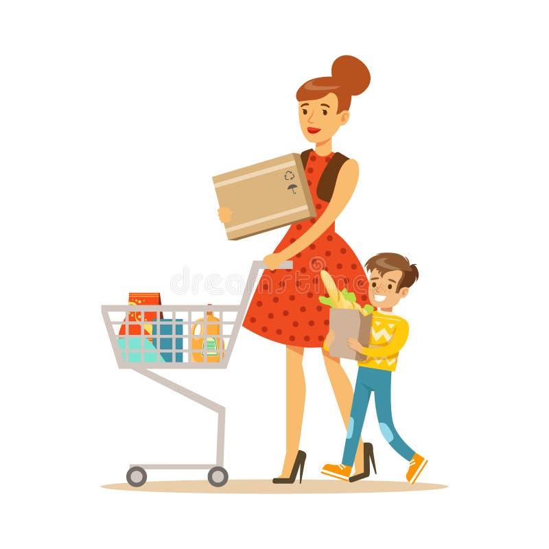 Mère et fils avec les achats de chariot dans le magasin, choses de achat de personnage de dessin animé dans la boutique illustration stock