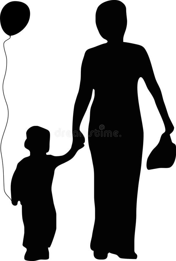 Mère et fils avec un ballon illustration stock