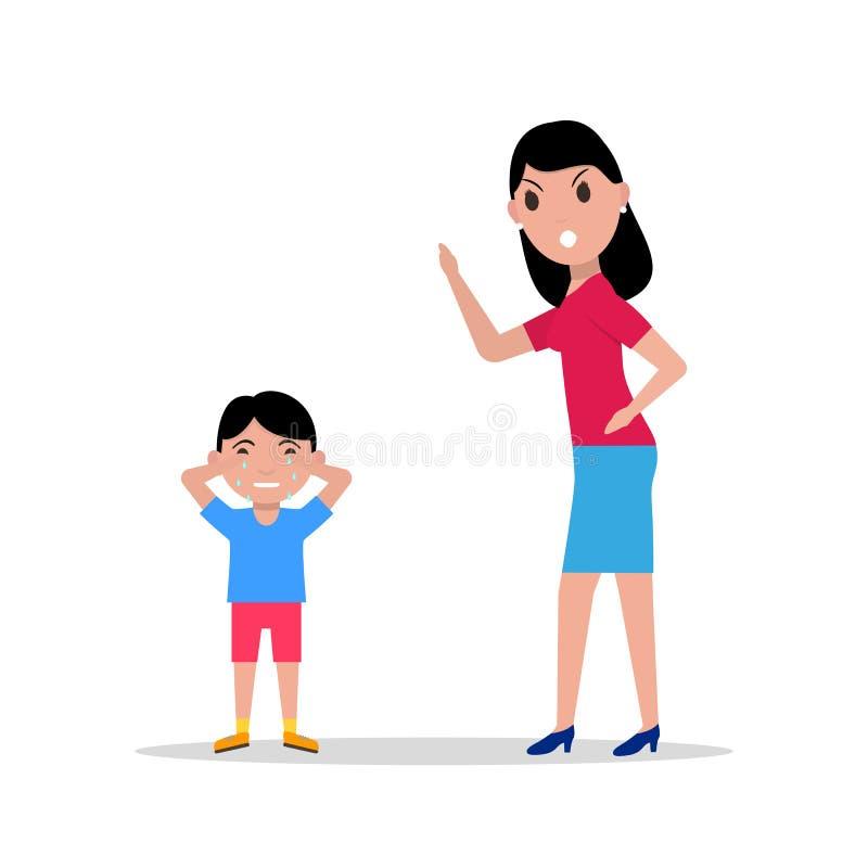 Mère fâchée de bande dessinée de vecteur grondant son enfant illustration libre de droits