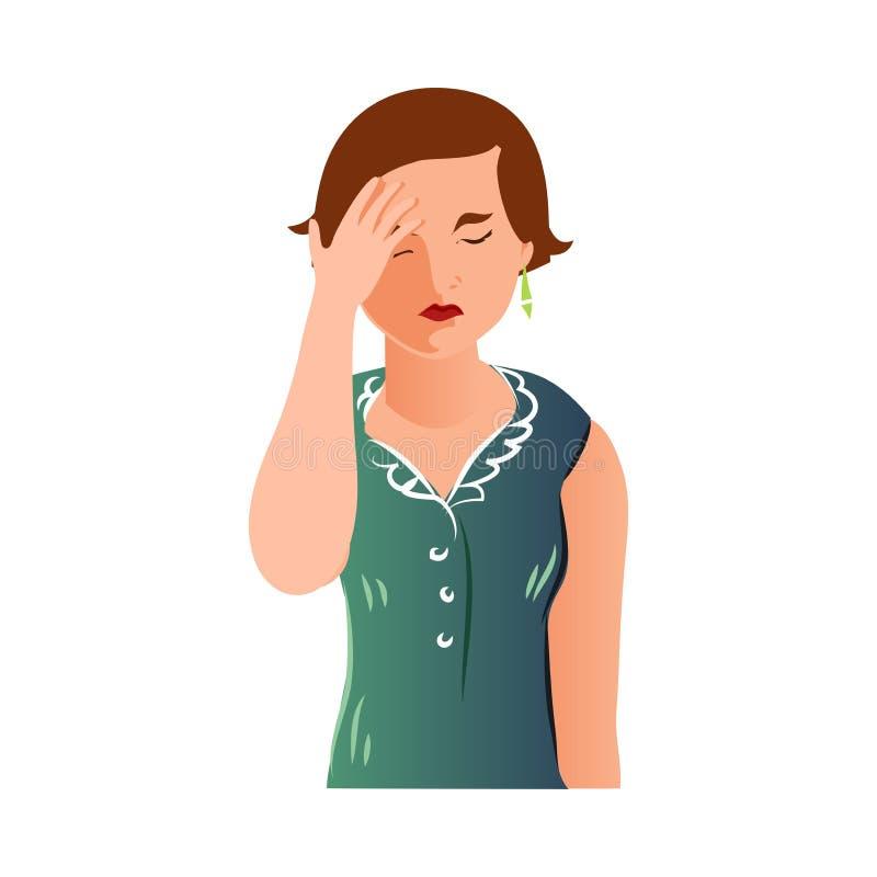 Mère fatiguée mignonne dans la robe verte couvrir son visage illustration stock