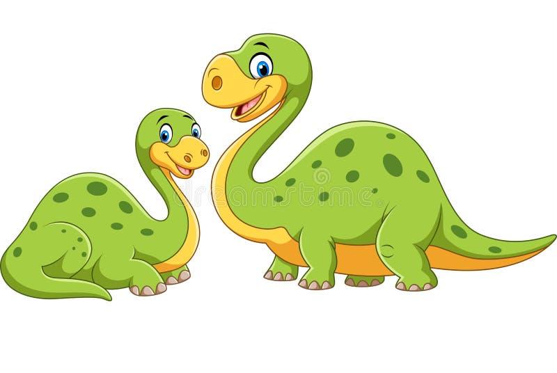 Mère heureuse avec le dinosaure de bébé posant sur le fond blanc illustration de vecteur