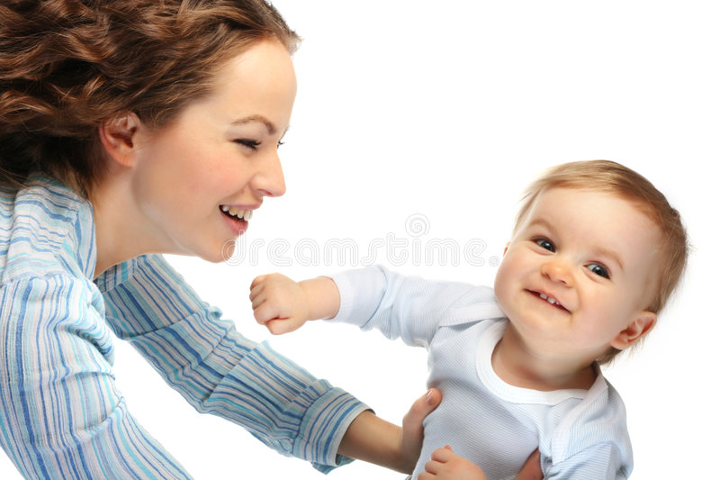 Mère heureuse avec le fils photographie stock