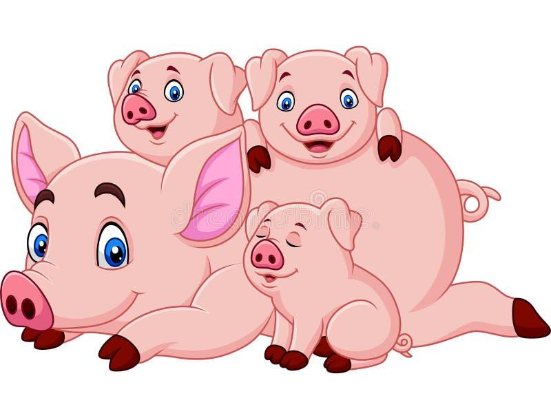 Mère heureuse de porc de bande dessinée avec des porcelets illustration libre de droits