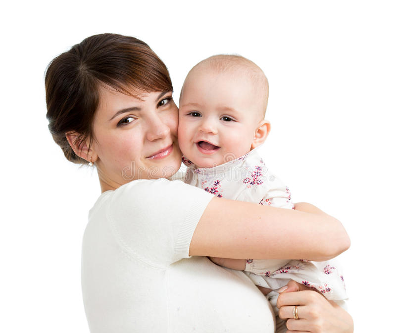 Mère heureuse embrassant son enfant de descendant d'isolement photos libres de droits