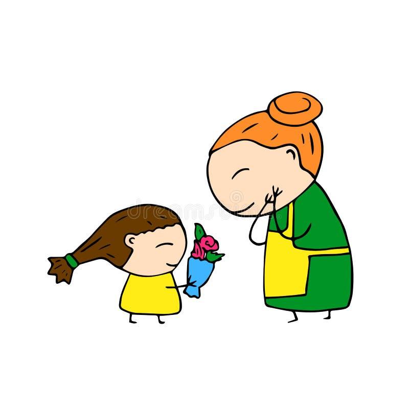 Mère heureuse et enfant tirés par la main sur le fond blanc Caractère tiré par la main mignon Maman et descendant illustration stock