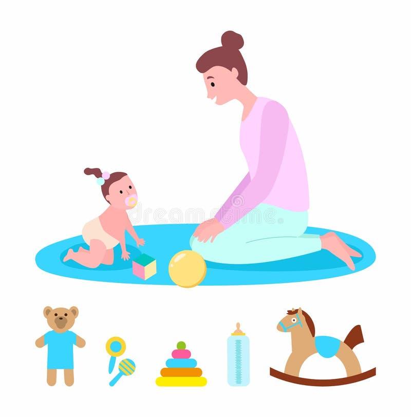 Mère jouant avec l'enfant, la maman et l'enfant avec des jouets illustration de vecteur