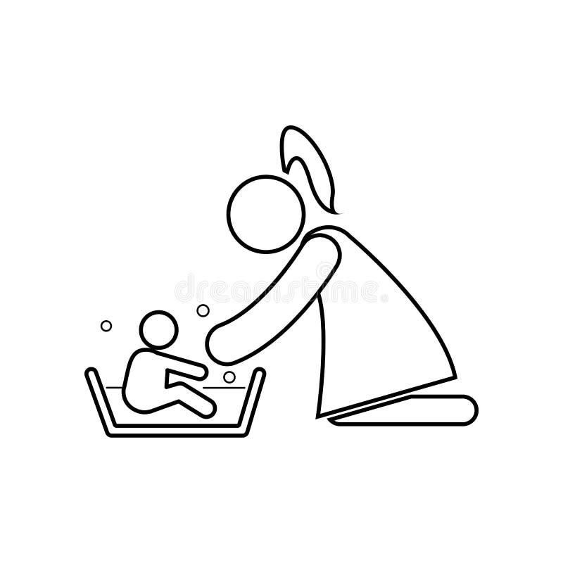 Mère lavant son enfant avec l'icône d'amour ?l?ment de famille pour le concept et l'ic?ne mobiles d'applis de Web Contour, ligne  illustration libre de droits