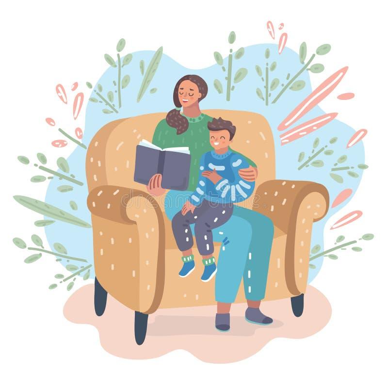 Mère lisant un livre avec son fils illustration stock