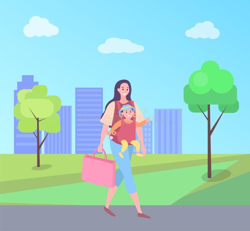 Mère marchant avec l'enfant, maman portant le petit bébé illustration stock