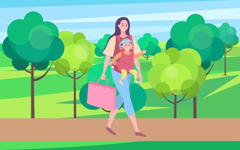 Mère marchant avec l'enfant, maman portant le petit bébé illustration libre de droits