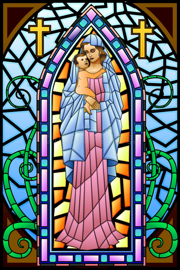 Mère Mary avec Jesus Christ illustration stock