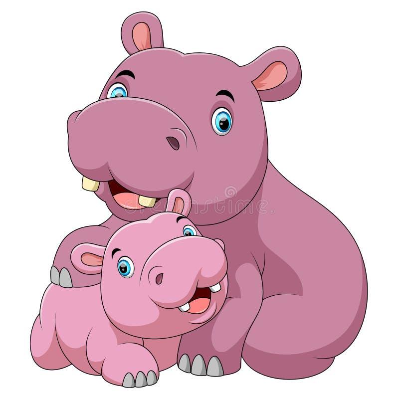 Mère mignonne d'hippopotame avec l'hippopotame de bébé illustration de vecteur