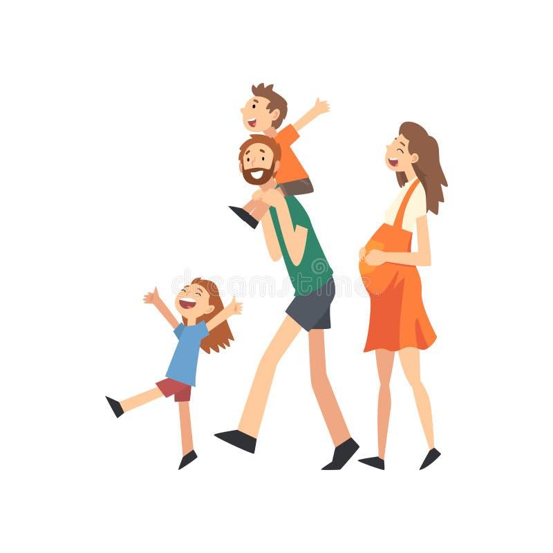 Mère, père et enfants enceintes de sourire, famille heureuse avec des enfants marchant l'illustration de vecteur de bande dessiné illustration libre de droits