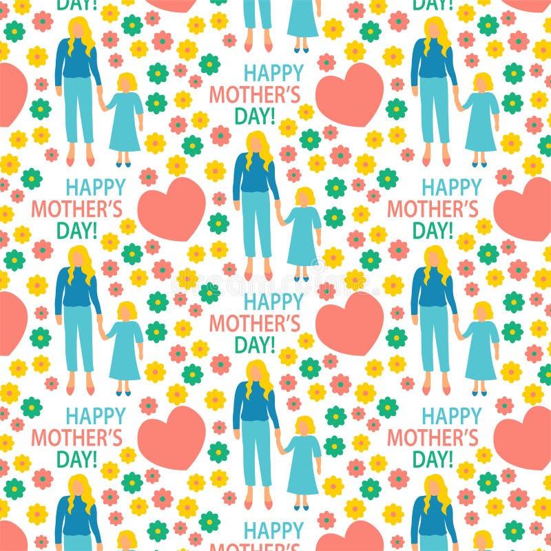 mère plate d'illustration de style de carte de voeux avec la copie sans couture de modèle de fille heureuse de maternité d'affich illustration stock