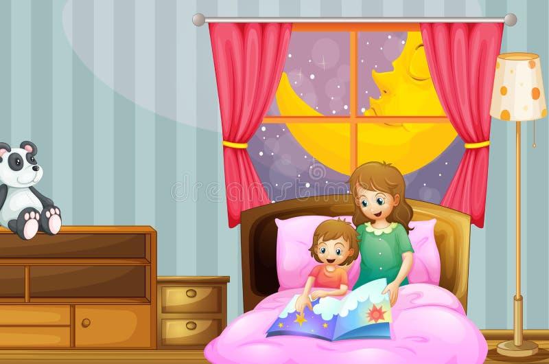 Mère racontant l'histoire pour endormir la nuit illustration stock