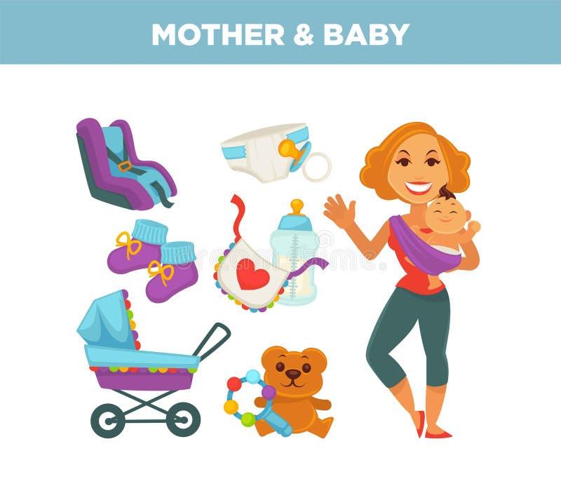 Mère tenant l'enfant nouveau-né dans des mains illustration libre de droits