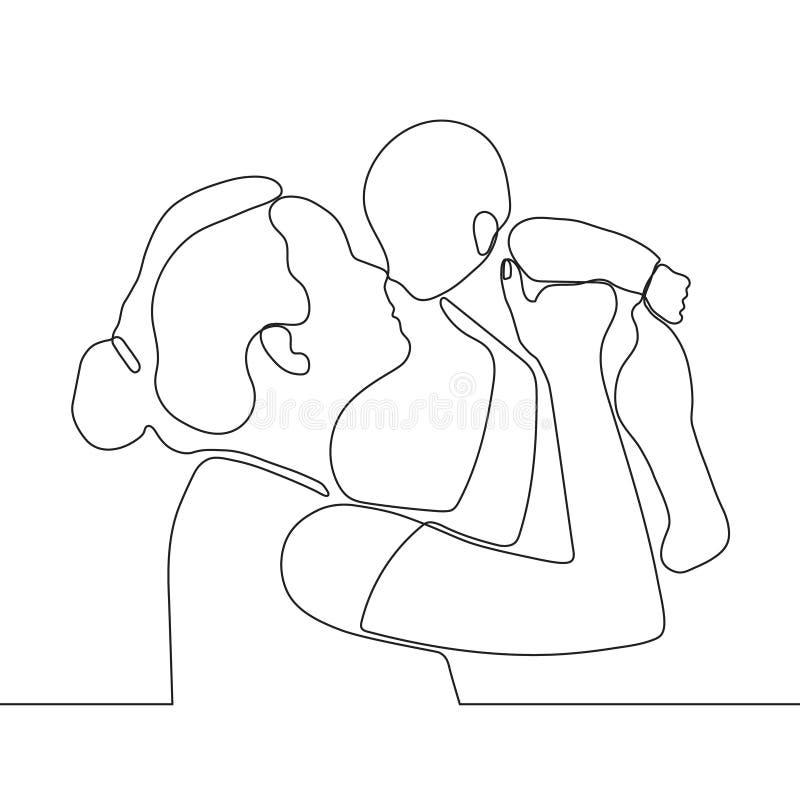 Mère tenant peu de bébé dans des ses bras, un dessin au trait continu Famille heureuse, condition parentale Rebecca 36 illustration libre de droits