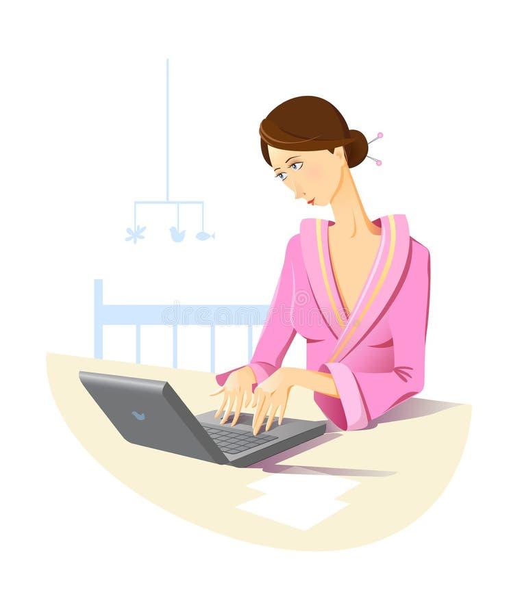 Mère travaillant à la maison illustration libre de droits