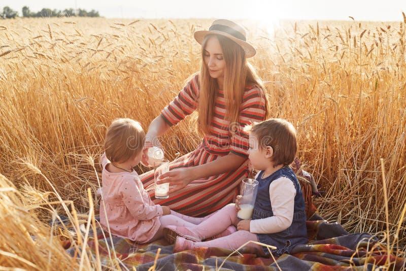 Mère utile de soin s'asseyant sur la couverture au champ de blé avec ses filles de lottle, verres remplissants avec du lait de la image stock