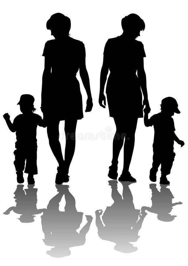 Mères avec des enfants illustration de vecteur