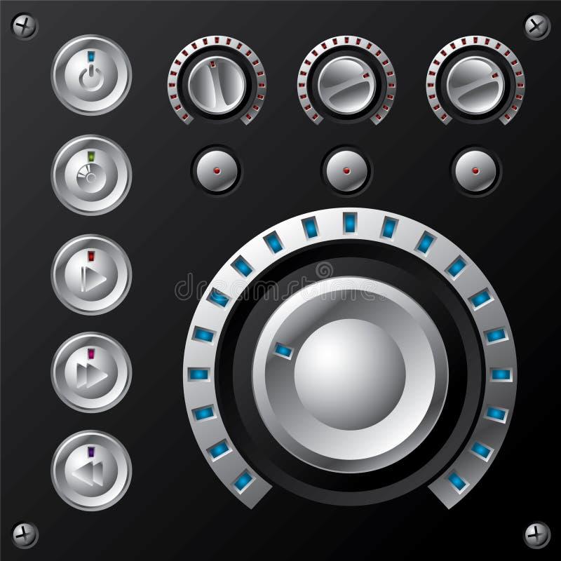 Mètre abouti bleu de volume avec des boutons de multimédia illustration de vecteur