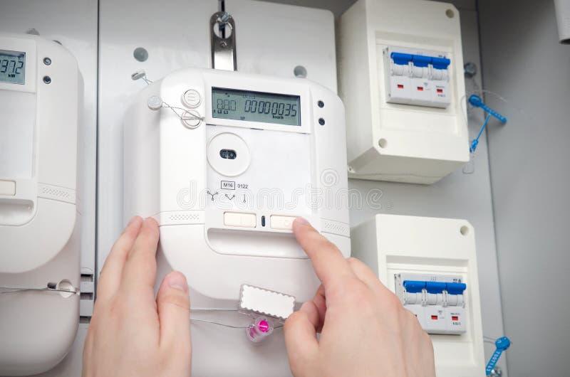 Mètre d'énergie électrique Unité électrique photos libres de droits