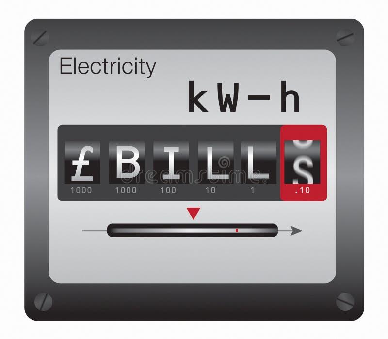 Mètre de l'électricité (GBP) illustration stock